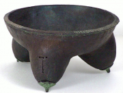 """CR 18 - Wood Reduction Fired Bowl with Rattles for Feet - 4.75"""" H x 9.25"""""""" W 