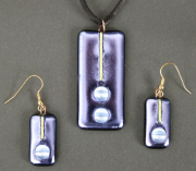 "J&H 1 – Dichroic Necklace & Earrings Set, Necklace Glass Size – 2"" H x 1"" W 