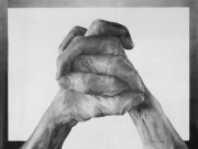 """11 - Wonderfully Made Praying Hands - One of a Kind Graphite Drawing: 10"""" H x 13"""" W 