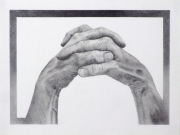 """13 - Wonderfully Made Thumbs - One of a Kind Graphite Drawing: 8.25"""" H x 11.5"""" W. Including Frame: 21.5"""" H x 27.25"""" W 