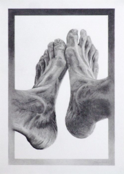 """14 - Wonderfully Made Feet - One of a Kind Graphite Drawing: 8.25"""" H x 11.5"""" W. Including Frame: 21.5"""" H x 27.25"""" W 