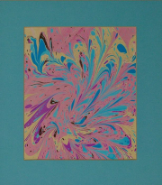 """9 - Abstract #1 - Oil Paint on Paper with Border Matting 13.75"""" H x 12.25"""" W 