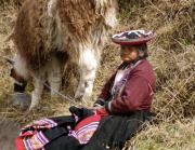 1 - 23    Quechua Woman Grazing Her Llama