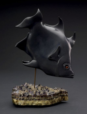 """10 - Stylized Angel Fish - Overall Sculpture Height 8"""", Fish Length 6.75"""", Base Measurement 5"""" x 5"""" 