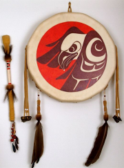 """19 - Stó:lō Style First Nations Drum - Height 25"""" (including embellishments), Width 14"""", Depth 3"""", Drumstick overall length 18.5"""" 