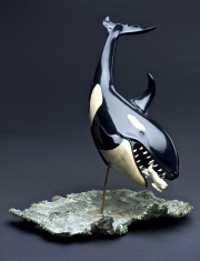 """4 - Jonah And The Great Whale - Sculpture Base 11.25''"""" x 8.5"""", Sculpture Height 11.25"""", Whale Length 14"""", Jonah Length 1.75"""", Glass Base & Cover 14.5 H x 13.5"""" W x 13.5"""" D 