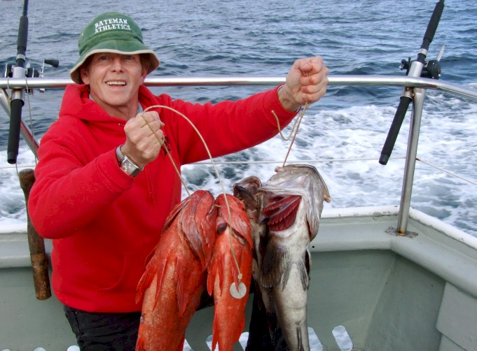 The joys of deep-sea bottom fishing thirty miles off the northwest coast of Vancouver Island, Canada.