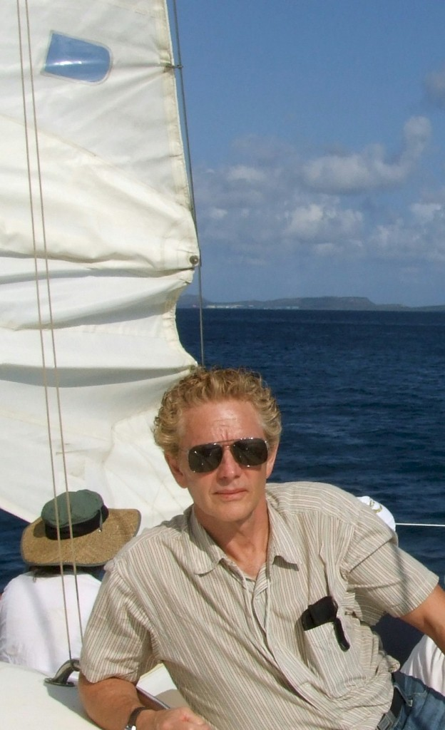 Tony Mayo sailing near the island of Bonaire in the Caribbean off the coast of Venezuela.