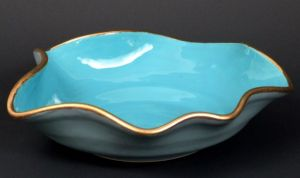 Free Form Bowl - Low Fire Ceramic With 22 Karat Gold Trim