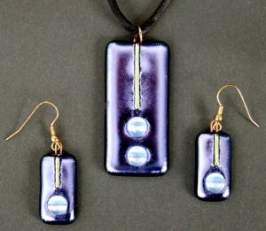 Pendent and Earrings - Fused Dichroic Glass