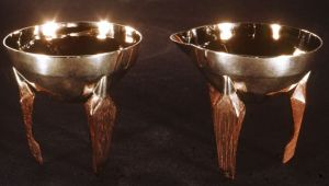 Sugar and Creamer - Hot Forged Sterling Silver Hollowware With Rosewood Legs